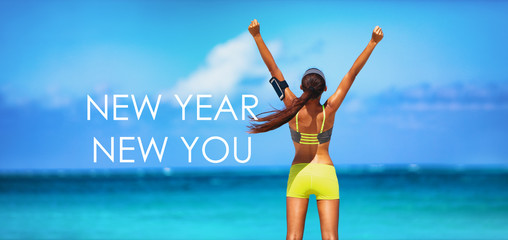 New Year New You motivational message weight loss fitness banner. New Year new you resolution inspirational quote on beach background. Cheering winner woman with arms up training goal.