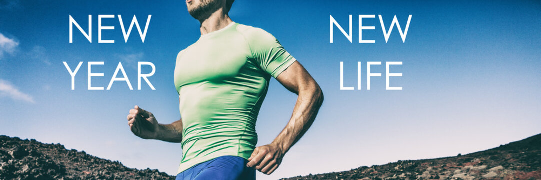 New Year New Life 2019 Changes to choices of lifsetyle - Fitness goals and resolutions for men - Banner panoramic crop of athlete runner running for weight loss concept, goal achievement in training.