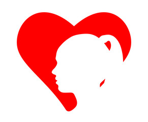 Red heart and silhouette of the girl head