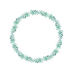 Watercolor green wreath of leaves. Hand drawn cartoon style illustration. Cute circle frame for wedding, holiday or card design on white background