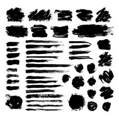 Set of black ink brush strokes isolated on white background. Hand drawn stains for backdrops. Grunge artistic brushes, text boxes, lines, splash, paintbrush collection - freehand vector illustration