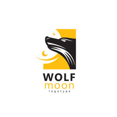 Wolf and moon logo