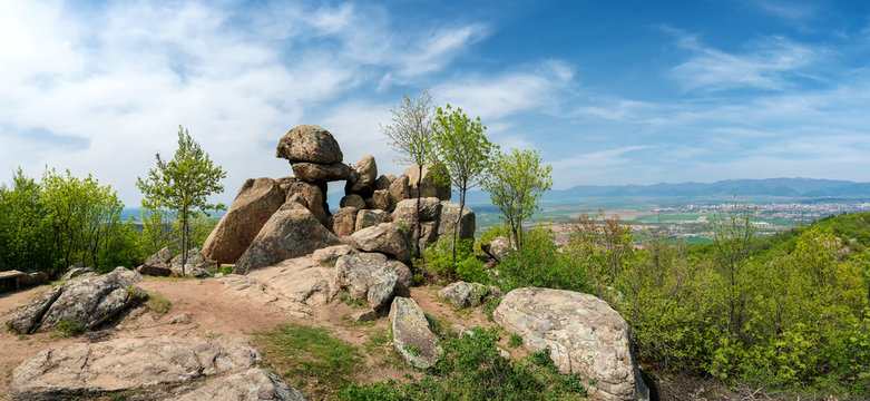 The Door of the Goddess - an ancient Thracian stone sanctuary near Kazanlak in Bulgaria - megalith, also known as the Solar Gate - panorama