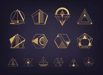 Vector set of abstract geometric logos. Art deco, hipster, golden