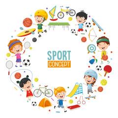 Vector Illustration Of Children Sports Concept Design