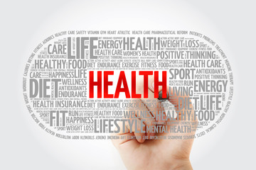 Health word cloud with marker, fitness, health concept background