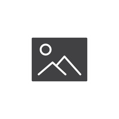Image gallery vector icon. filled flat sign for mobile concept and web design. Mountains landscape picture simple solid icon. Symbol, logo illustration. Pixel perfect vector graphics