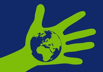 Concept pour agir et protéger la planète terre du réchauffement climatique avec un globe terrestre au creux d'une main .