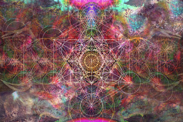 Abstract spiritual background with sacred geometry Fototapete