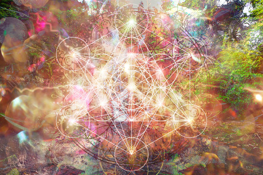 Abstract spiritual background with sacred geometry.