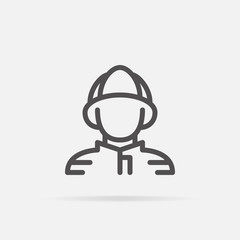 Fireman icon in line style.