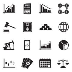 Stock Exchange Icons. Black Flat Design. Vector Illustration.