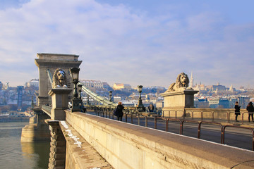 Széchenyi Chain Bridge Budapest - Hungary in winter