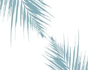 Tropical Elegant Foliage background blue pastel palm leaf vector made decoration
