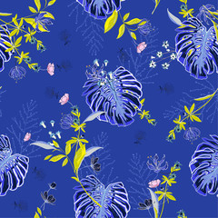 Electric blue tropical Floral pattern in the many kind of flowers.