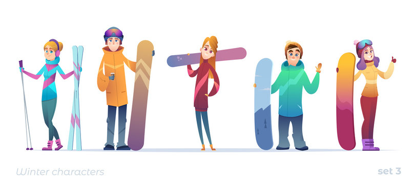 Young characters of people in different poses. Winter sports