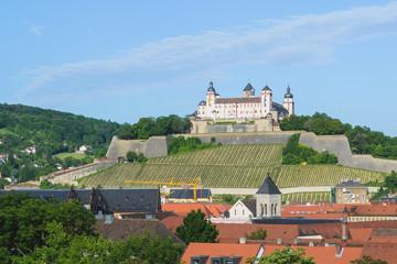 Würzburg Dächer und Festung Marienberg