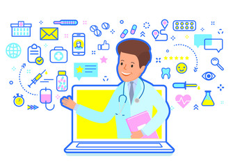 Concept of Online medical consultation. Doctor giving online consultation.