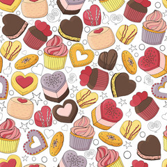Seamless pattern of different desserts, cakes, candy and food for Valentines day. Romantic endless texture. Hand drawn. Vector illustration.