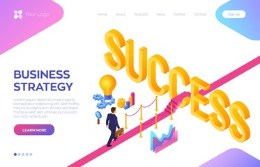 Road to success. Business Strategy Concept. Businessman with briefcase in hand walking on red carpet to the success. Strategy and solutions for business leadership. Creative Idea. Vector Illustration.
