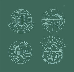 Vector icon and logo for a restaurant or farm, building and camping, cafe or cooking vegan. Editable outline stroke size. Line flat contour, thin and linear design. Simple icons. Concept illustration