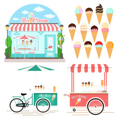 Collection of Ice Cream Design Elements. Vector Illustration