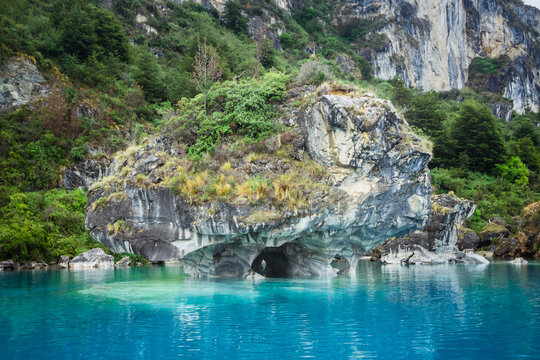 marble caves (Capillas del Marmol). General Carrera lake also called Lago Buenos Aires. North of Patagonia. Chile