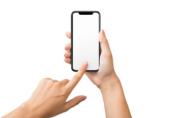 Female hand using blank touchscreen of smartphone
