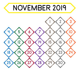 Detailed daily calendar of the month of November 2019