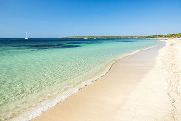 Beautiful Migjorn beach, Formentera island. Spain