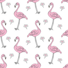 Tuinposter Flamingo Computer graphic seamless pattern illustration with pink exotic flamingo birds and hearts on white background