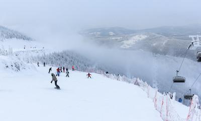 Winter in Szczyrk in Beskidy Mountains - New ski slope from Zbojnicka Kopa to Hala Skrzyczenska opened december 2018