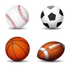 Sport balls silhouettes isolated