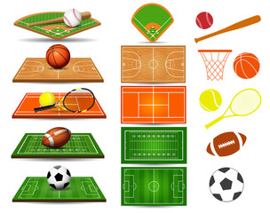 Sport fields, balls and design elements