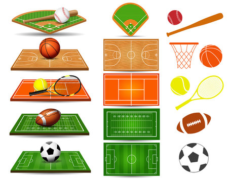 Sport fields, balls and design elements