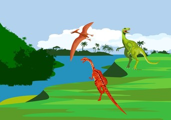 Diffeent dinosaurs  at prehistoric jungle, river bank  ancient fauna, vector illustration
