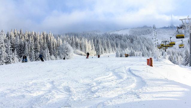 Winter in Szczyrk in Beskidy Mountain - Skrzyczne, Hala Jaworzyna