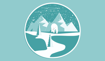 Icon round - Polar bear, mountains, snow, spruce, - isolated on light background - art vector