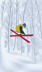Skier in a snowy forest - vector art illustration. Winter sports.