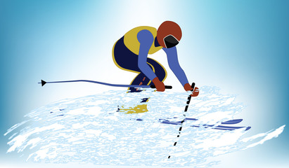 Skier in a whirlwind of snow - light blue background - vector illustration. Winter sports.