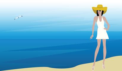 Vacation at sea - girl in a hat, sun glasses, summer sundress - illustration vector