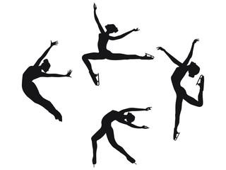 Set - skaters silhouettes, elegant women - flat style, isolated on white background - vector