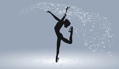 Figure skating - woman on a beautiful abstract background - vector