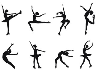 Set of winter sport - skaters - eight dancing poses of girls ice skating - detailed - vector