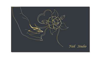 Sketch of woman's hand and rose with leaves - on dark background - vector. Business card for a beauty salon. Nail studio