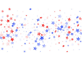 Flying red blue white star sparkles on white vector american patriotic background. Wall mural