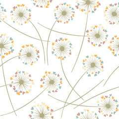 Dandelion blowing plant vector floral seamless pattern. Flowers with heart shaped petals.