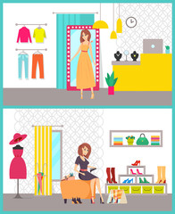 Shopping Women in Stores Buying Clothes Vector