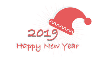 Vector card Happy New year 2019 on a white background