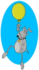 Dog hanging on to a helium balloon